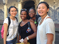 Student group studying abroad