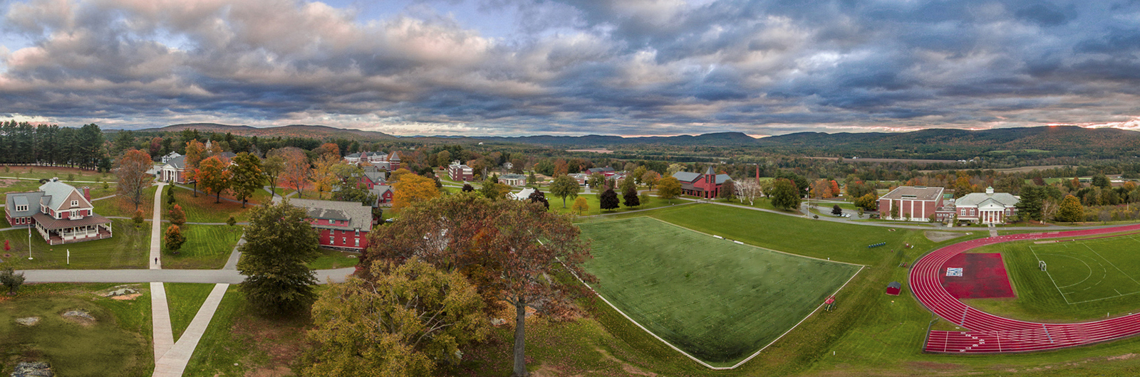 Panoramic, aerial view of NMH campus