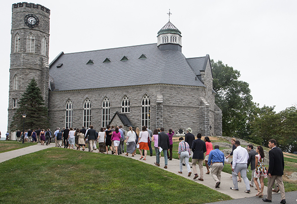 People entering Memorial Chapel
