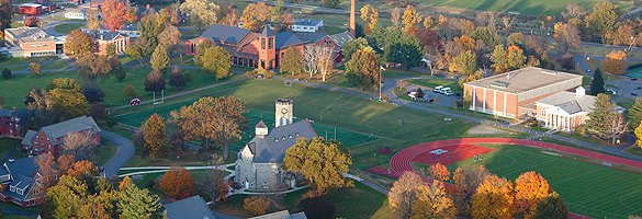 aerial view of campus in fall